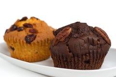 Zwei Muffins auf einer Platte Stockbild
