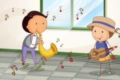 Zwei Musiker, die nahe dem Fenster spielen lizenzfreie abbildung
