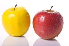 Zwei nasse Äpfel Lizenzfreies Stockbild