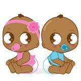 Zwei nette Afroamerikanerbabys Lizenzfreie Stockfotografie