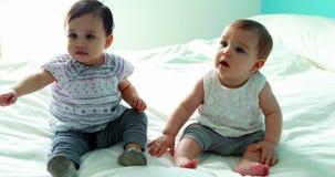 Zwei nette Babys, die auf Bett sitzen stock video footage