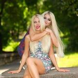 Zwei nette blonde Freundinnen Stockfotos