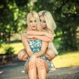 Zwei nette blonde Freundinnen Lizenzfreies Stockfoto