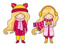 Zwei nette blonde kleine Mädchen Autumn Fashion stock abbildung
