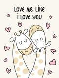 Zwei nette flache Giraffen Lieben Sie mich wie ich liebe dich Vektorkarikatur-Illustrationsplakat lizenzfreie abbildung