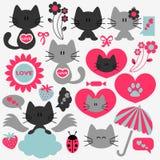 Zwei nette Katzen eingestellt von den romantischen Elementen lizenzfreie abbildung