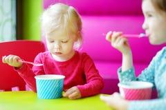 Zwei nette kleine Schwestern, die zusammen Eiscreme essen Lizenzfreies Stockfoto