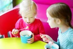 Zwei nette kleine Schwestern, die zusammen Eiscreme essen Stockfotografie