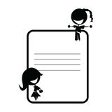 Zwei nette Mädchen auf Lehrbuchaufkleber Lizenzfreie Stockbilder