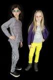 Zwei nette Mädchen, welche die flippigen Gläser aufwerfen mit einer Haltung tragen Lizenzfreie Stockbilder