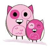 Zwei nette rosa Eulen lizenzfreie abbildung