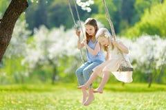 Zwei nette Schwestern, die Spaß auf einem Schwingen in blühendem altem Apfelbaumgarten draußen am sonnigen Frühlingstag haben lizenzfreie stockbilder