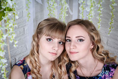 Zwei nette Schwestern mit dem blonden Haar und den Blumen herum Lizenzfreie Stockfotografie