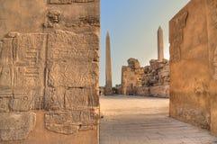 Zwei Obelisks im Karnak Tempel Stockbild