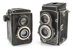 Zwei Objektiv-Fotokamera der Weinlese zwei Lizenzfreie Stockbilder