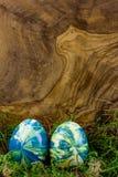 Zwei Ostereier, die im Moos liegen Stockfotografie