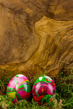 Zwei Ostereier, die im Moos liegen Lizenzfreies Stockbild