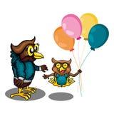 Zwei Owl Get Play Togather lizenzfreie abbildung