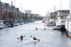 Zwei Paare Kajaks segeln hinunter einen europäischen Fluss stockbild
