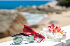 Zwei Paare Sonnenbrille auf Hintergrund von Ozean Stockfotos