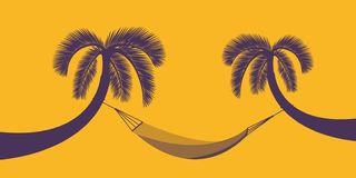 Zwei Palmen mit Hängematte auf orange Hintergrund für Sommerferienentwurf vektor abbildung