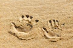 Zwei Palmendrucke auf dem Sand mit Eheringen Lizenzfreie Stockfotos