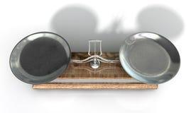 Zwei Pan Balance Scale Lizenzfreie Stockfotos