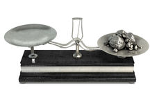 Zwei Pan Balance Scale And Platinum Stockfoto