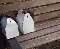 Zwei PapierLunchboxes Lizenzfreies Stockbild