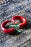 Zwei Pfeffer des roten Paprikas Stockfotografie