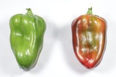 Zwei Pfeffer, rot und grün, lokalisiert auf weißem Hintergrund Stockfotografie