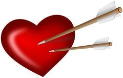 Zwei Pfeile erstachen in Herz Stockbild