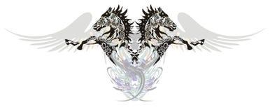 Zwei Pferde mit Flügeln in einem Sprung Stockfotografie