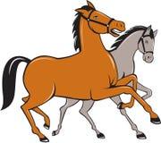 Zwei Pferdetänzelnde Seitenkarikatur lizenzfreie abbildung