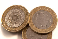 Zwei Pfundmünzen lizenzfreies stockbild