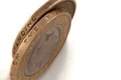 Zwei Pfundmünzen Stockbild