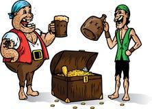 Zwei Piraten mit Schatz. Teil einer Serie Stockfoto