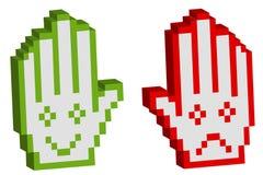 Zwei pixelated Hand mit Lächeln Lizenzfreie Stockfotos