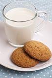 Zwei Plätzchen mit einem Glas Milch Stockbild