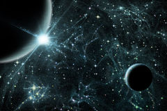 Zwei Planeten mit Sonnenaufgang vektor abbildung
