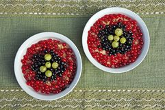 Zwei Platten mit einem fruchtigen Frühstück auf einer grünen Tischdecke Stockfoto