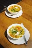 Zwei Platten mit Suppe lizenzfreie stockbilder