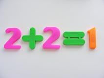 Zwei plus zwei Gleichgestellte eins Stockbild