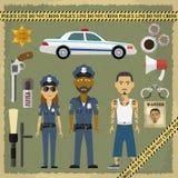 Zwei Polizeibeamten, Mann und Frau und Verbrecher Lizenzfreie Stockbilder
