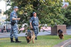 zwei Polizeibeamten mit Service-Hunden in der Stadt stockfotografie