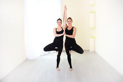 Zwei positive Frauen, gekleidet in stilvolle Sportkleidung übendem yog Lizenzfreie Stockfotos