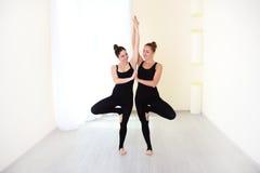 Zwei positive Frauen, gekleidet in stilvolle Sportkleidung übendem yog Stockfoto
