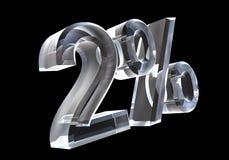 Zwei Prozent im Glas (3D) Lizenzfreie Stockfotos