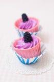Zwei purpurrote kleine Kuchen Stockbild
