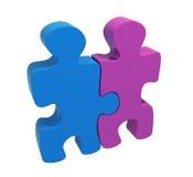 Zwei Puzzlespiele Mann und Frau Stockbild